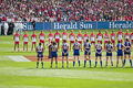 The teams line up for the national anthem, 2005 AFL Grand Final.jpg