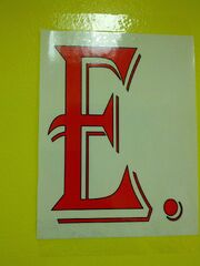 Big red E in school sign
