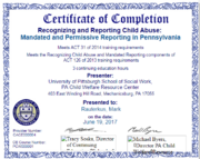 Certificate Mandated Recognize Report Child Abuse 4 Mark Rauterkus