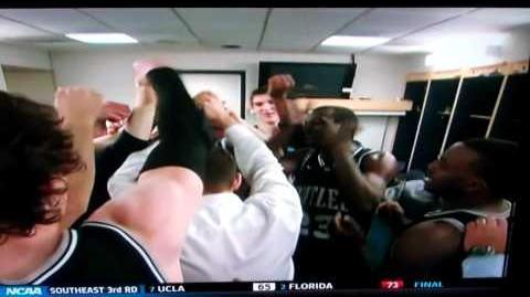 Brad Stevens celebrates after Butler beats Pittsburgh