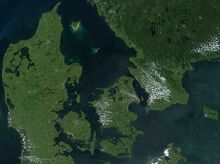Satellite image of Denmark in July 2001
