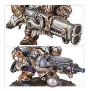 Grundstok Thunderers two-barrelled aethershot rifle aetheric fumigator Kharadron miniatures