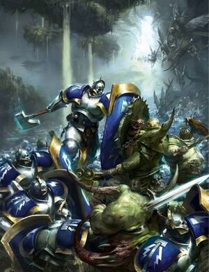 Hallowed Knights fighting Nurgle in Ghyran Colour Illustration