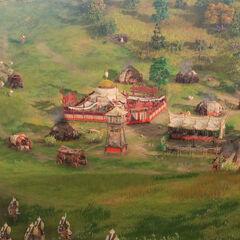 Un pueblo mongol y su ejército en <i>Age of Empires IV</i>
