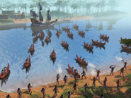 Canoes attacking the Dutch