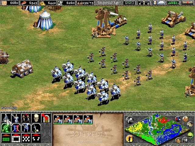 The colorful diamond-like object at the lower-right hand corner is the mini  map found in Age of Empires II.
