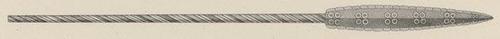 Tepoztopilli.Ilustración de Achille Jubinal en el catálogo de la Real Armería de Madrid 1837