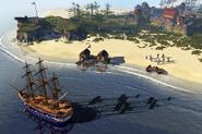 Frigate sailing along the coast
