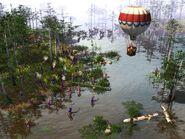 Hot air balloon over swamp