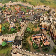 Vista aérea de una ciudad inglesa en <i>Age of Empires IV</i>