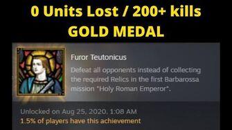 Furor Teutonicus Achievement - Barbarossa Holy Roman Emperor - Gold Medal Hard No losses