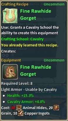 Craft fine rawhide gorget