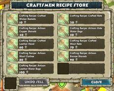 Store - Craftsmen Recipe Store