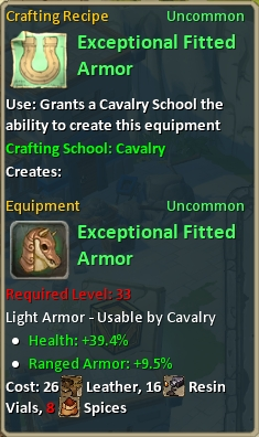 Craft exceptional fitted armor
