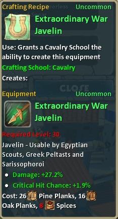 Craft extraordinary war javelin
