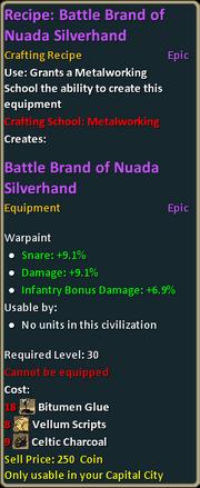 Recipe Battle Brand of Nuada Silverhand