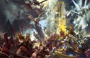 Batalla por la puerta entre Los Martillos de Sigmar y la Marea de Sangre de Khorne.