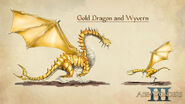 Золотой дракон и виверна-концепт-арт