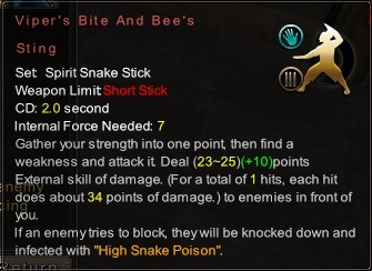 (Spirit Snake Stick) Viper's Bite And Bee's Sting (Description)