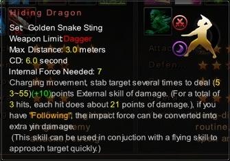 (Golden Snake Sting) Hiding Dragon (Description)