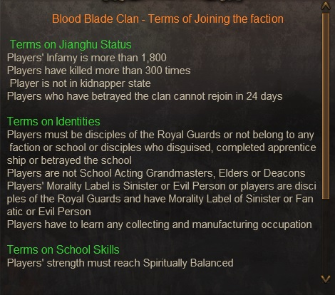 Terms of Joining the faction