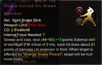 (Spirit Snake Stick) Snake Coiled On Green Bamboo (Description)