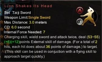 (Taiji Sword) Lion Shakes Its Head (Description)