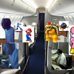 Leopold, Leonard, Harold, Leonidas, Mario, Mega Man, Bowser, Bob-omb, and Pink Yoshi in the Plane in AGKFan640's AGK Series