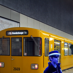Leopold, having arrived at Berlin-Hauptbahnhof, meets Jake and one of the U-Bahn platforms in RCT3Crashes100's Angry German Kid Series