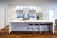 Appealing-unique-flooring-ideas-for-modern-one-wall-kitchen-layouts-ideas-plus-white-interior-decorating-and-barstools-with-marble-countertops-as-well-as-lighting-under-cabinet
