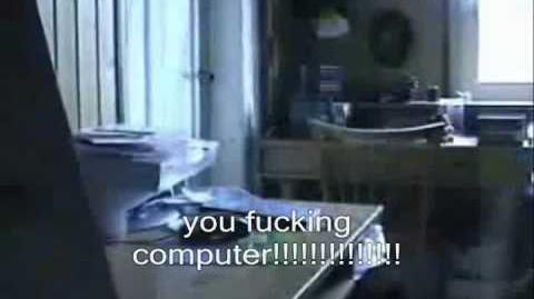 Angry german kid plays guitar hero with his keyboard?