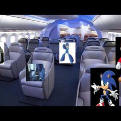 Leopold (beside middle), Roland, Mega Man, Sonic and Mario as seen in the airplane in Videoman1443's AGK Series.