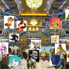 Leopold Slikk, Hatsune Miku, Adolf Hitler and some of the characters eat in the main restaurant of the ship, Costa Concordia, the Ristorante Roma and Milan.