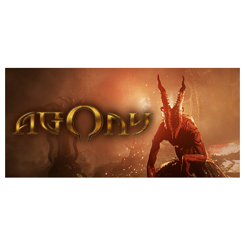 <i>Agony</i>s Steam header with the logo's early design.