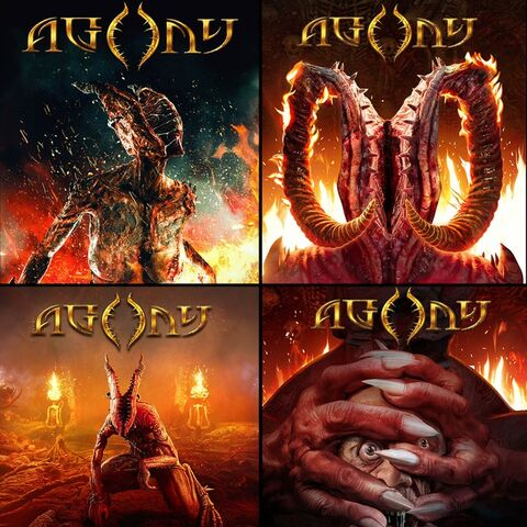 A series of <i>Agony</i> box arts.