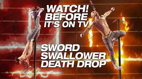 LEAK Sword Swallower Alex Magala Performs Scary Death Drop - America's Got Talent The Champions