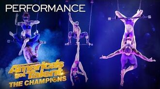 INTENSE! Duo Transcend Executes Risky Aerial While BLINDFOLDED - America's Got Talent The Champions