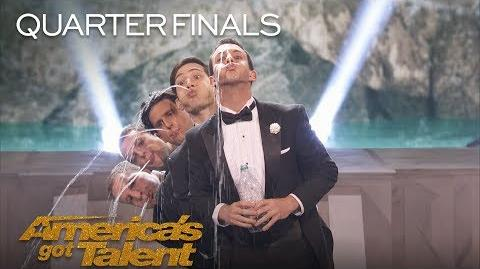 Human Fountains Synchronized Spitting Men Spit Into Audience - America's Got Talent 2018