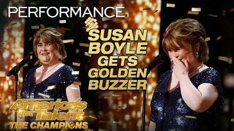 """Susan Boyle Earns Golden Buzzer With Iconic """"Wild Horses"""" - America's Got Talent The Champions"""