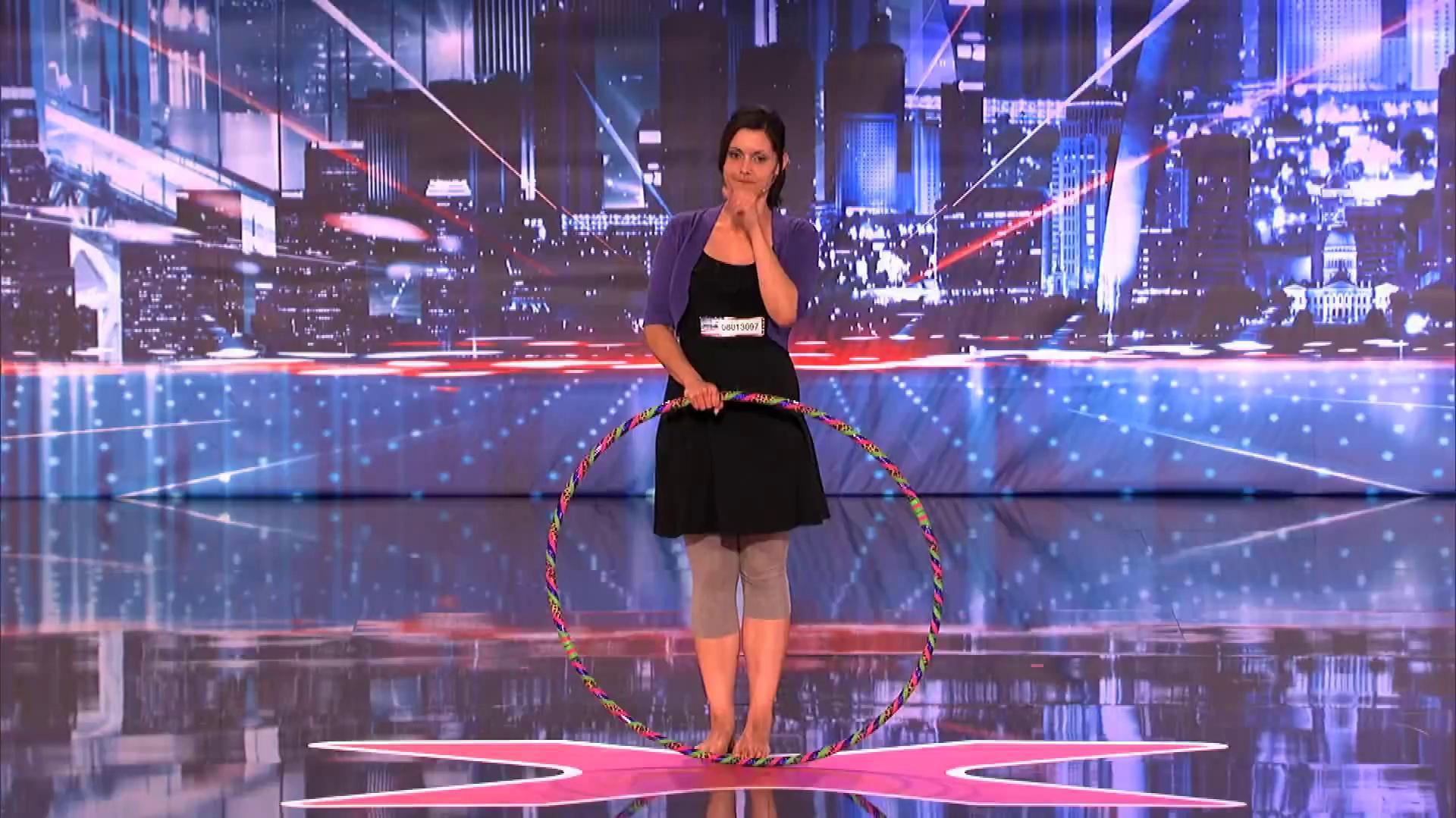 America's Got Talent 2013 - Season 8 - 089 - Lindsey the Hula Belching Girl Burps as She Hula Hoops