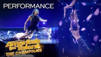 Duo Destiny Delivers Sexy Acrobatics And UNBELIEVABLE Aerial - America's Got Talent The Champions
