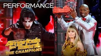 OMG! Miki Dark THROWS KNIVES At Heidi Klum While Blindfolded! - America's Got Talent The Champions