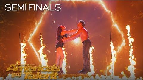 Duo Transcend Couple Performs Dangerous Trapeze And Roller Skate Act - America's Got Talent 2018-0