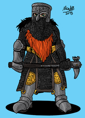 Helmed dwarf war maiden by shabazik-d5v2nta