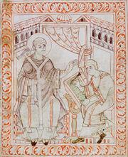 Dessin de style médiéval montrant deux hommes assis en habits de moines. L'un d'eux écrit sur un livre placé sur un pupitre.