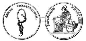 Médaille en vermeil Sénat conservateur (Constitution de l'an VIII)