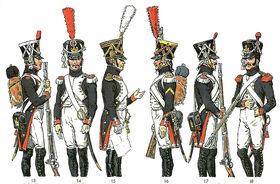 Fusiliers-chasseurs et fusiliers-grenadiers de la Garde impériale en grande tenue. Planche de Richard Knötel.