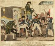 gravure d'époque représentant l'assassinat du duc.