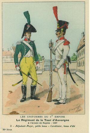 Bucquoy Les Uniformes du Ier Empire 1910 - Le régiment de La Tour d'Auvergne Adjudant-Major et Carabiner 1807.jpg