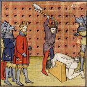 Enluminure représentant la décapitation à la hache d'un homme à genoux ne portant qu'une chemise blanche et ayant la tête sur un billot. Des hommes portant des armures et des broignes observent la scène. Ils portent tous des heaumes sauf un qui a une couronne.